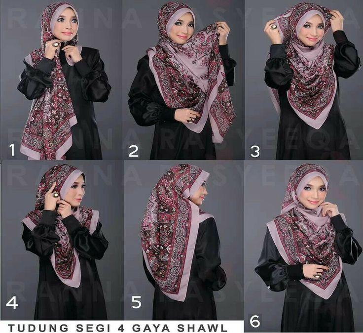 Tutorial tudung segi 4 gaya shawl
