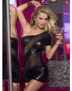 Black One Shoulder Faux Leather Club Dress