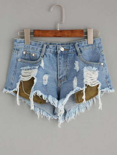 Pantaloncini Denim Strappati E Tasche - Blu