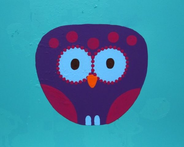Owl with blue background - acrylic painting on canvas