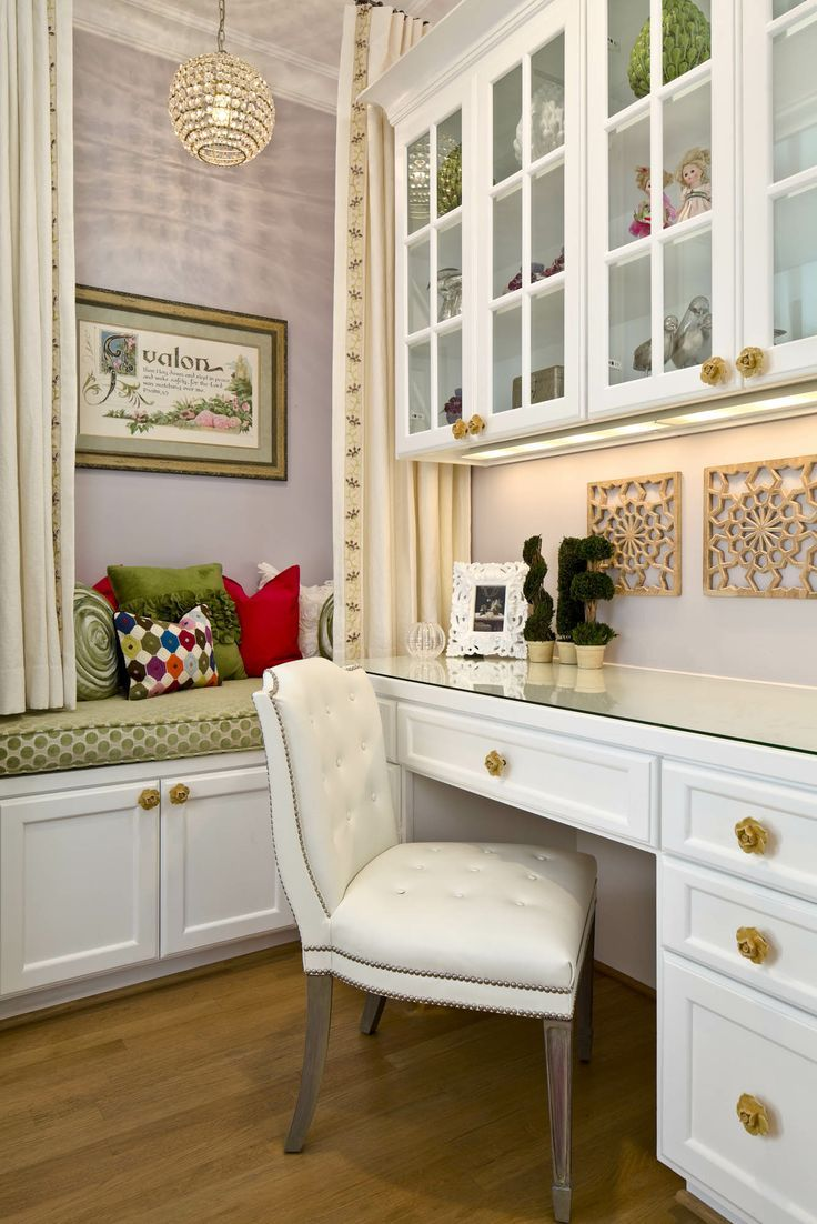 Decorative hardware adds the finishing touch to this sophisticated study nook.