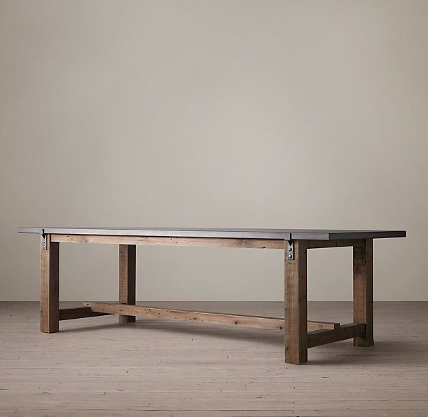 "RECLAIMED WOOD & ZINC-TOP STRAP DINING TABLE $1295 - $1695 A well-chosen combination of old and new, our handcrafted table pairs reclaimed timbers with a zinc metal-sheet top and the clean lines of contemporary design.  Show product details... DIMENSIONS 72""L x 36""W x 31""H 84""L x 36""W x 31""H 96""L x 40""W x 31""H 108""L x 40""W x 31""H 120""L x 40""W x 31""H"