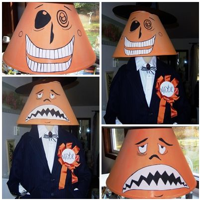 Nightmare before Christmas mayor costume made with a lampshade. But what if it was just my Halloween lamp...it could happen!