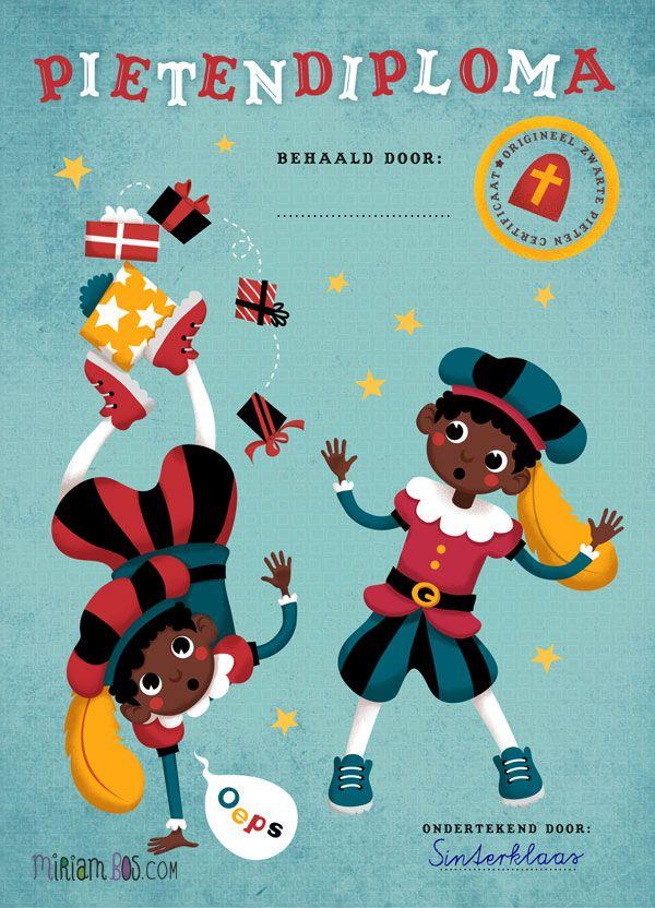 """Pietendiploma (nee, niet """"zwarte"""") .. Door Miriam Bos, gratis te downloaden."""