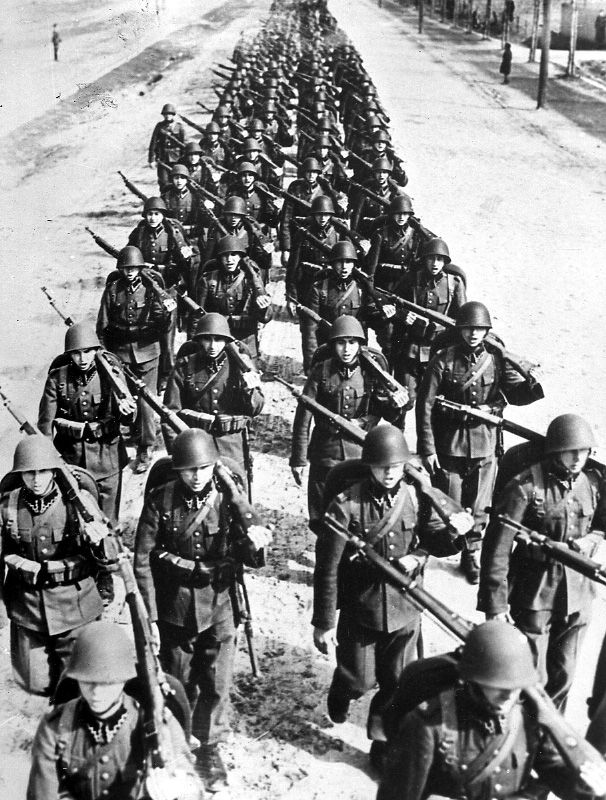 Polish soldiers marching, circa 1939, WWII