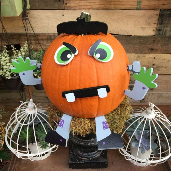 decorate a halloween pumpkin with no carving involved look for this frankenstein pumpkin push