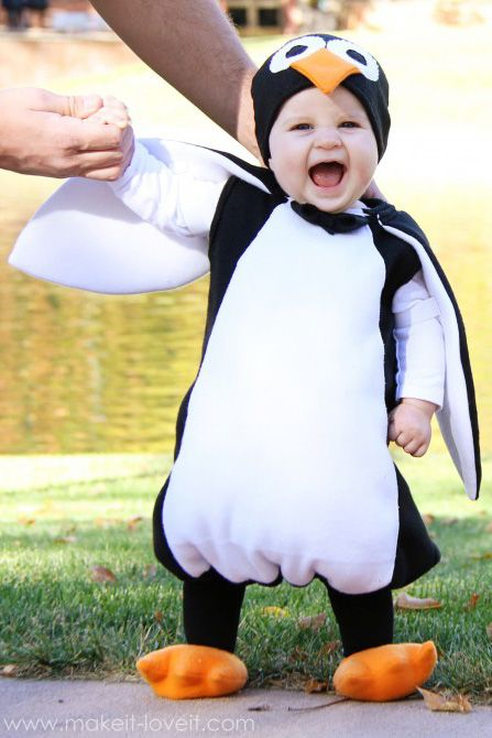 You can make this cozy costume entirely from fleece and batting. Just imagine how cute your child will be waddling around in this suit! Get the tutorial at Make It & Love It.   - CountryLiving.com