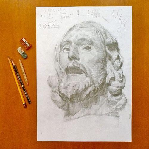 John the Baptist, my drawing of head by Auguste Rodin / Огюст Роден, голова Иоанна Крестителя, мой рисунок. Продолжаю упражнения в рисовании гипсовых голов. Кстати, у этой исторической личности голова была отсечена. #drawing #quickly
