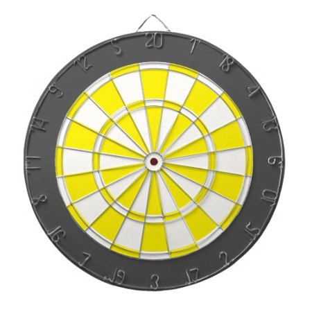 Dart Board: White, Yellow, And Charcoal Gray Dartboard - click/tap to personalize and buy