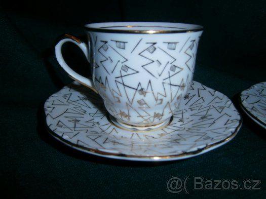 Retro porcelánové hrnky - šálky na kávu - přátelská souprava - 1