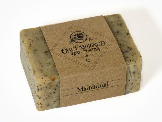Mintchouli (Patchouli + savon menthe) / huile essentielle de savon / savon procédé à froid à la main / savon végétalien