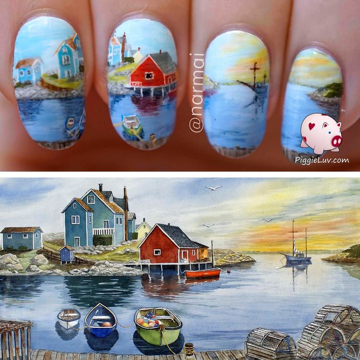 Peggy's Cove, nail art inspired by Raymond Edmonds