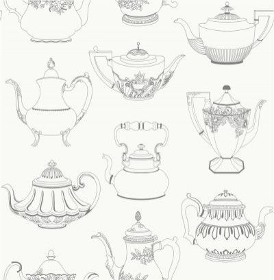 Time for Tea (31192) - Albany Wallpapers - A delightful motif design with intricately patterned old-fashioned teapots.  Shown in black on white.  Please request sample for true colour match.
