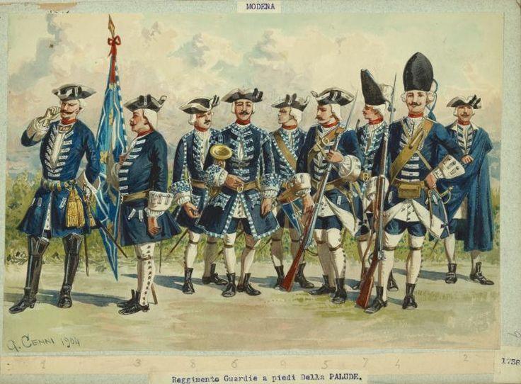 Reggimento Guardia a Piedi della Palude. Household guard of the Duke of Modena, 1738.