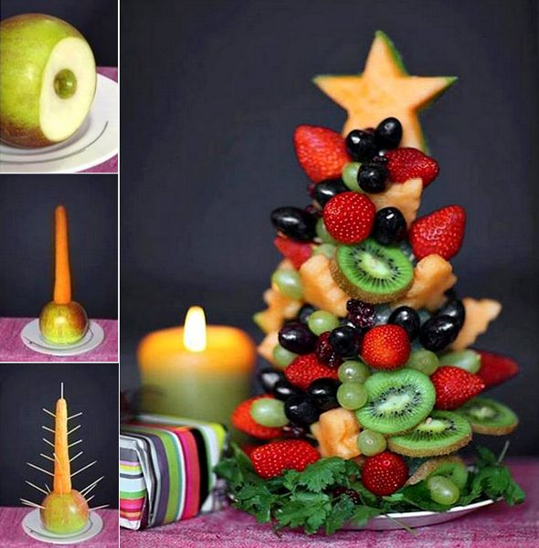 Christmas Fruit Tree Recipe and Tutorial! Love this Idea! Healthy and Nice to look at too! My daughter will love this! #Christmas #Fruit #Tree #Tutorial #Recipe