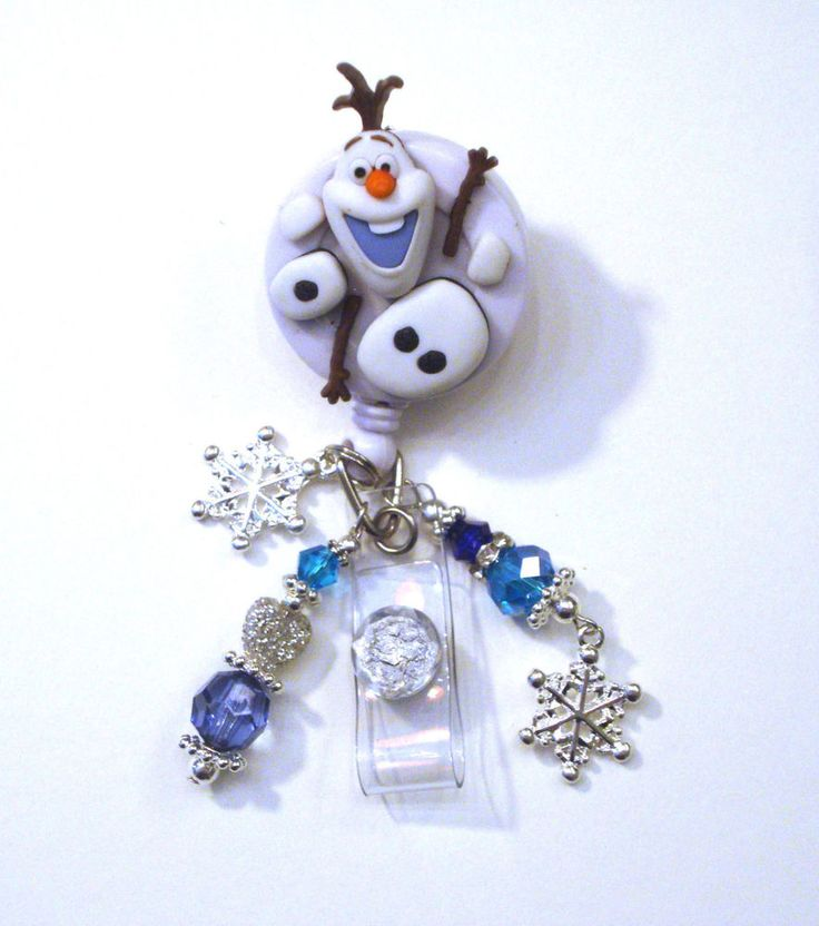 Olaf In Parts Frozen Disney Retractable Reel ID Badge Holder Swivel Lanyard