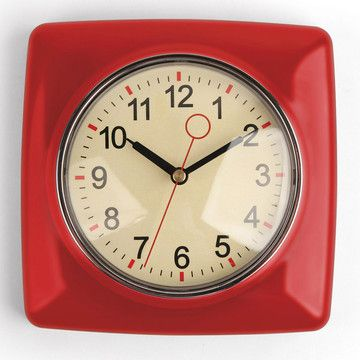 Retro Wall Clock Red By Kikkerland