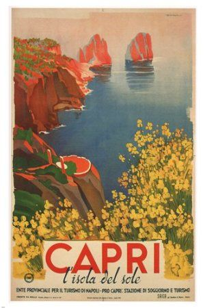 capri BY GIUSEPPE RICCOBALDI vintage ad poster ITALY 1948 24X36 first RATE