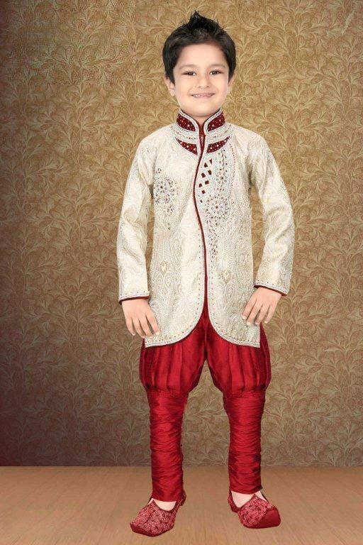 Cream & Maroon Silk Full Sleeve Designer Indian Boys Sherwani – USMART NY