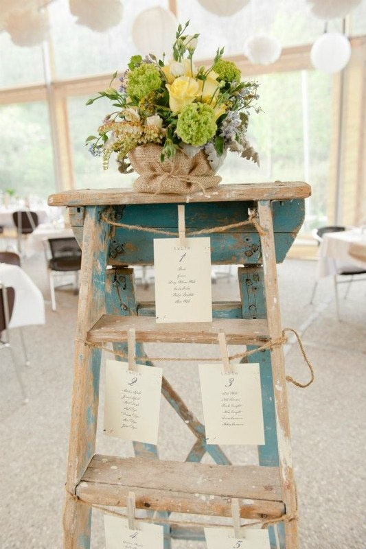 Vintage ladder for the seating plan
