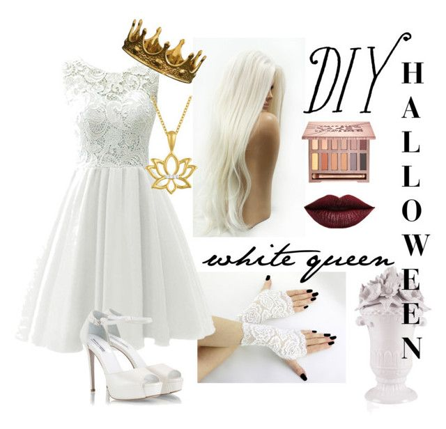 """halloween costume diy white queen of alice in wonderland"" by matchabesty on Polyvore featuring Fratelli Karida, LASplash, Urban Decay, Fitz & Floyd, halloweencostume and DIYHalloween"