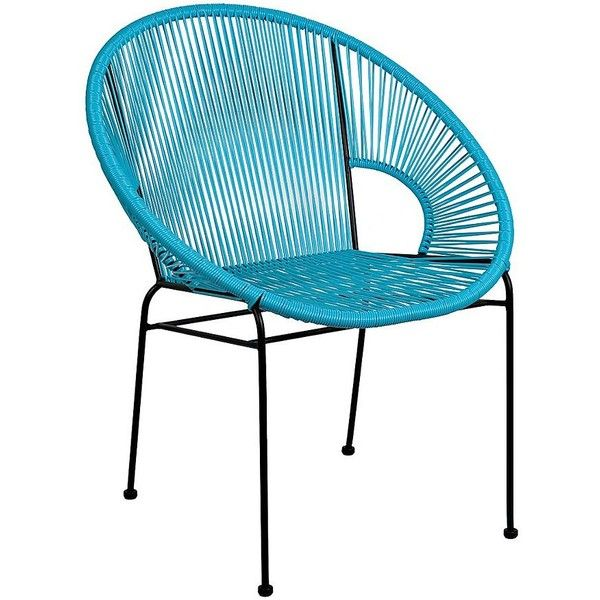 Aqua Plastic Wicker Woven Chair (u20ac39) ❤ Liked On Polyvore Featuring Home,