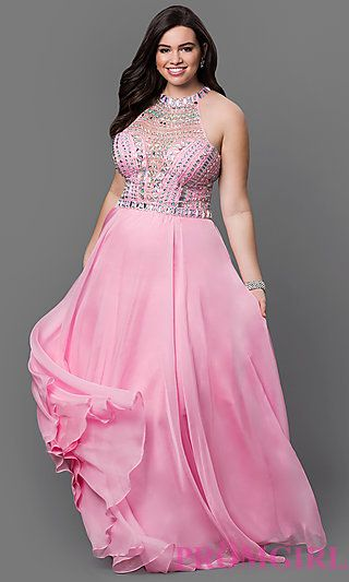 Plus Floor Length Dress with High Neck and Jewel Embellished Bodice at PromGirl.com