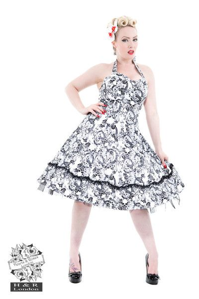 White and Black Skull Dress By Hearts and Roses - 6785