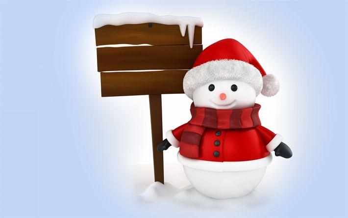 Herunterladen hintergrundbild 3d-schneemann, winter, schneemänner, schnee, holz-index