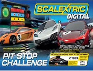 The Scalextric Digital Pit Stop Challenge Set, is the ultimate in slot car racing and is a fantastic new Digital set.Welcome to the exciting world of Scalextric Digital. This set allows you to race up to four cars at the same time (three cars are provided), performing amazing, realistic overtaking and braking manoeuvres. You can switch lanes at the touch of a button to overtake or block your opponent.    This set includes everything you need to get started with Scalextric Digital.