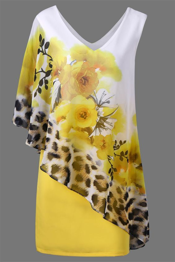 $23.89 V Neck Floral and Leopard Capelet Dress - Yellow