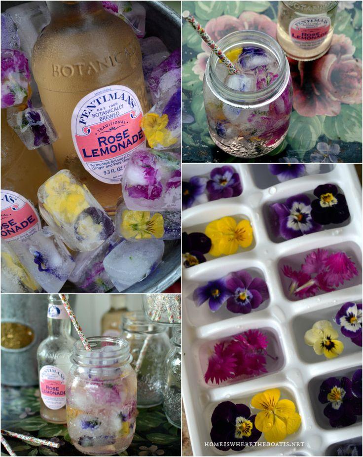 Edible Flower Ice Cubes! Harvest your violas, pansies or edible flowers to make floral ice cubes for a garden party beverage or a festive way to serve lemonade! #party #beverage