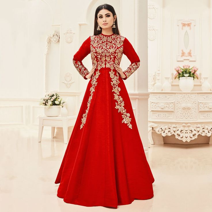 Buy Red Cotton Silk Floor Length Anarkali Suit online India, Best Prices, Reviews - Peachmode