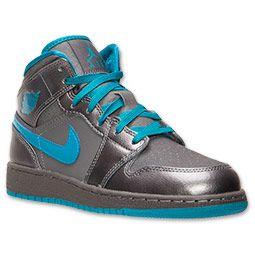 Girls\u0027 Grade School Air Jordan 1 Mid Basketball Shoes   FinishLine.com    Grey