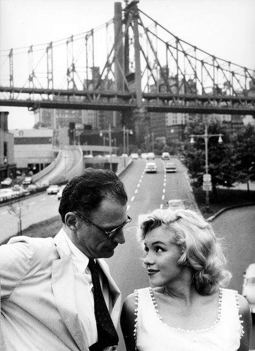 Sam Shaw, courtesy of Shaw Family Archives, Ltd. Marilyn Monroe and Arthur Miller in front of the Queensboro Bridge, New York, 1957.: Marilyn Monroe, Sam Shaw, Marilynmonroe, Arthurmiller, Norma Jean, Arthur Miller, Photo, People