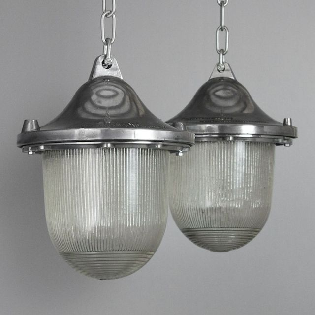 Pair of polished aluminium and glass industrial polish factory lights ex vat 115 remaining diameter 210 mm length n a mm height 250 mm width n a mm