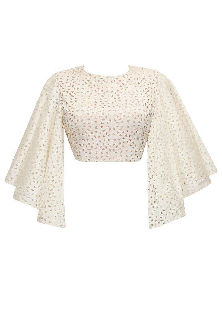 Off white cutwork bell sleeves crop top available only at Pernia's Pop-Up Shop.