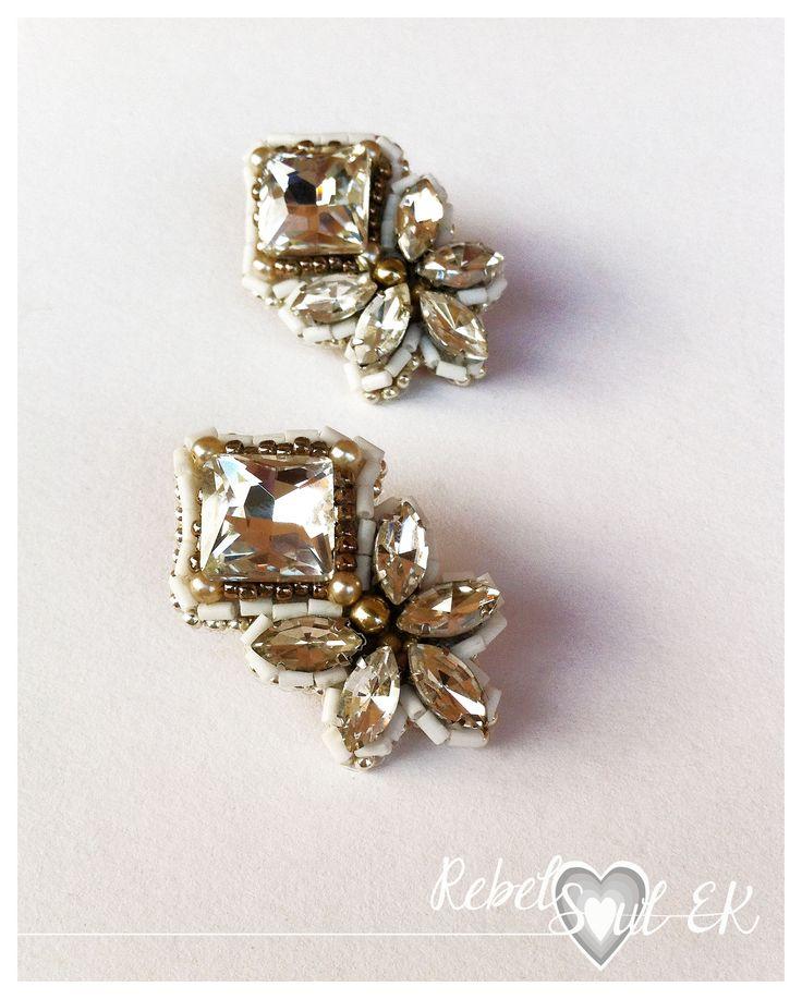 RebelSoulEK earrings bead embroidery weddings jewelry crystals white silver