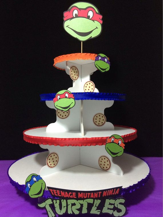This Teenage Mutant Ninja Turtle themed Cupcake Stand will go great with your party. This four tier stand will hold between 55-65 cupcakes.