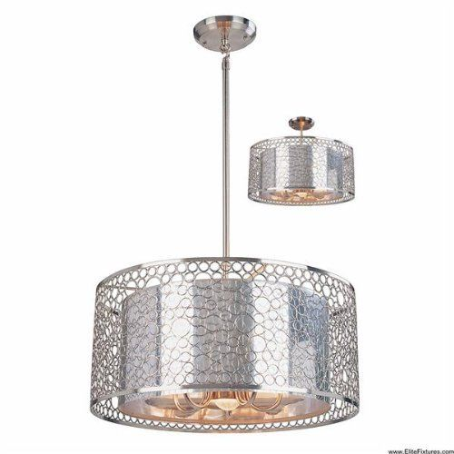 "Saatchi Pendant in Brushed Nickel Size: 9"" H x 20"" W by Z-Lite. $498.00. 158-20 Size: 9"" H x 20"" W Features: -Pendant.-Material: Metal frame / Metal and Mylar shade.-Telescoping Rod: 18'' - 36'' or 4.5'' rod. Color/Finish: -Brushed Nickel finish. Specifications: -Accommodates: 3 x 60W medium base incandescent bulbs.-Accommodates: 3 x 60W medium base incandescent bulbs. Dimensions: -Overall dimensions: 9'' H x 15'' W.-Overall dimensions, 158-26: 9'' H x 26'' W.-Overall d..."