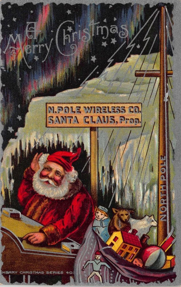 Christmas Postcard North Pole Wireless Company Santa Claus Toy Doll House~114394 #Christmas