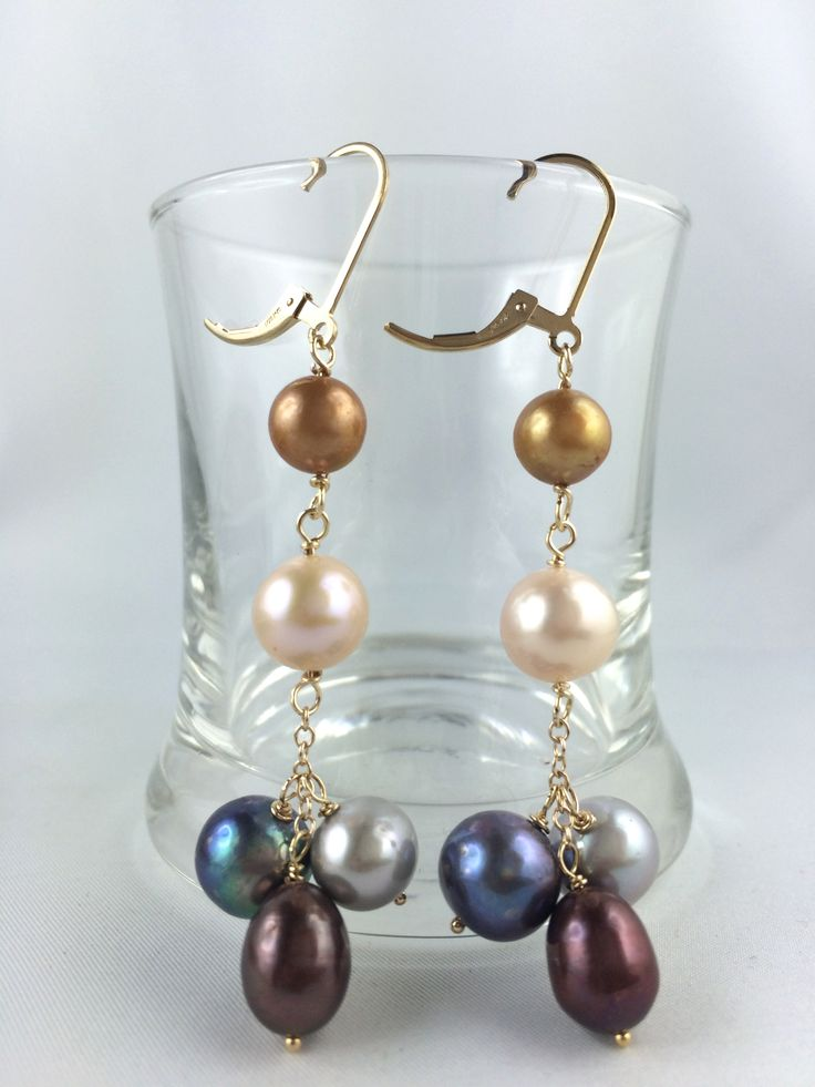 Beautiful and Elegance 5 Shades of Pearl Earrings