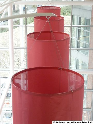 TOWER WHARF -  Bristol -UK - 'floating' interior fabric sculptures made with Soltis 86 Screen.