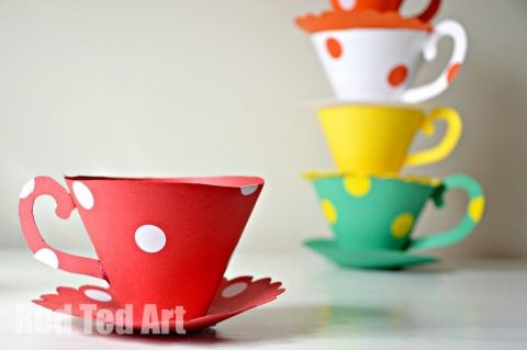 Paper Teacup Craft Printable - Bubby called them cupcake pots and I thought how cute would that be to put a cupcake in?! :)
