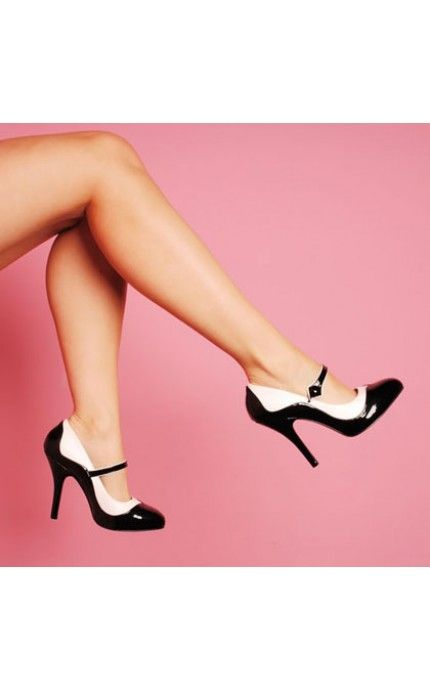 "Bordello Shoes Tempt Two-Tone Maryjane in Black and White with 4 1/2"" Heel"