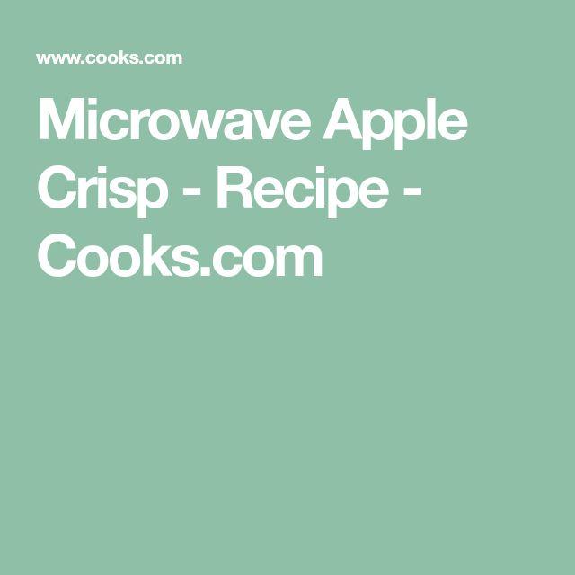 Microwave Apple Crisp - Recipe - Cooks.com