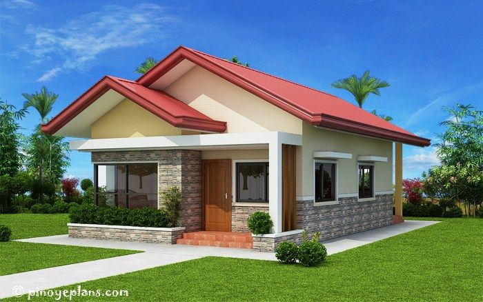 1 This Is A Two Bedroom House Designed For A Small Family It Has A Floor Area Of 61 Sqm And Can B One Storey House Bungalow House Design Bungalow House Plans