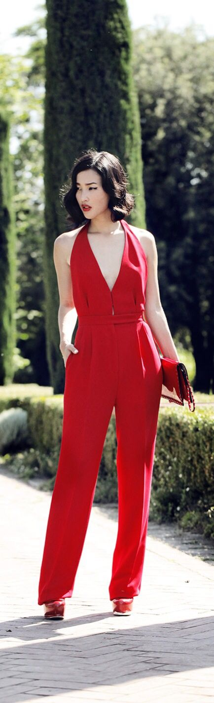 Valentino Jumpsuit and Clutch / YSL Heels