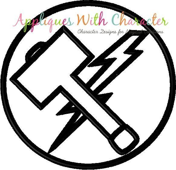 Thor Avenger Symbol Applique Design Applique Designs Avengers