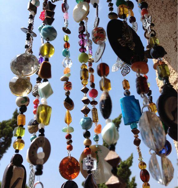 Bohemian Boho Inspired Mobile Suncatcher Hanging - Home Garden Decor - Beads and Random Findings - Live Now on Etsy, $95.00